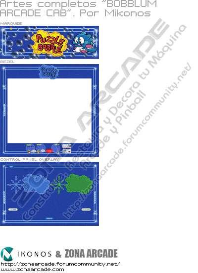 """Artes completos para decorar la máquina recreativa arcade """"Bobblum Arcade Cabinet"""" (Puzzle Bobble)"""